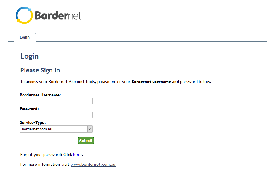 My Bordernet login screen